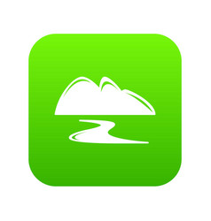 New gold mine icon green vector