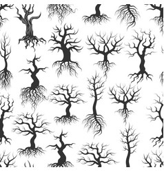 old tree silhouettes samless pattern tree with vector image