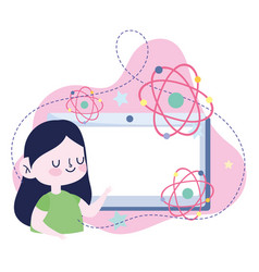 Online education student girl tablet computer vector