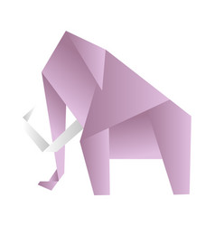 origami elephant pink paper figure on vector image