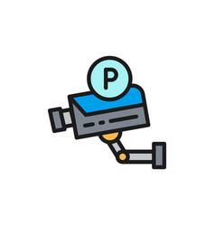 parking security camera surveillance system flat vector image