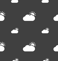 Partly Cloudy icon sign Seamless pattern on a gray vector image