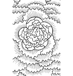 peony - flower black and white ink vector image