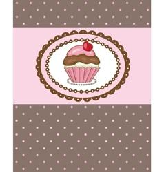Piece of cake cupcake vector image