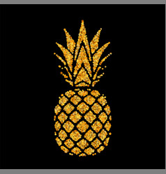Pineapple golden with leaf tropical gold exotic vector