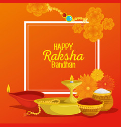 Poster hindu event with flowers and candles vector