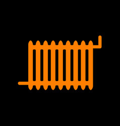 radiator sign orange icon on black background vector image