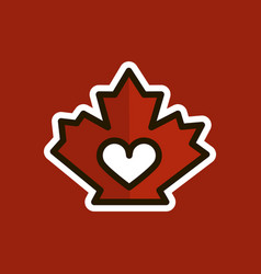 Red canadian maple leaf heart inside love logo vector