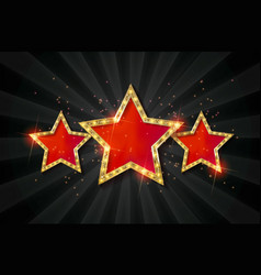 retro light sign three gold red stars vector image