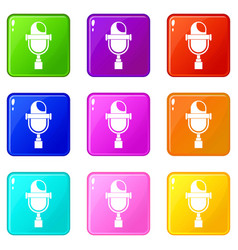 Retro microphone icons 9 set vector