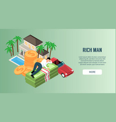 Rich man horizontal banner vector