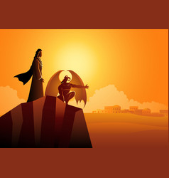 Satan tempts jesus in wilderness vector