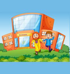 School scene with two muslim kids vector