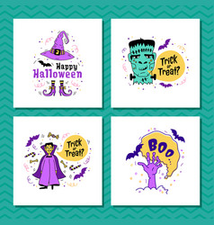 set greeting cards for halloween trick or vector image
