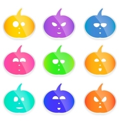 Set of colorful Halloween pumpkins cute vector