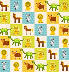 Set of funny animals mouse lion cow dinosaur tiger vector