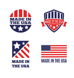 Set of made in the usa labels and badges on vector