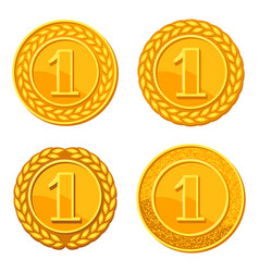 set of realistic gold medals of vector image