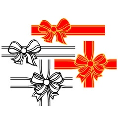 Set of satin ribbon bows vector