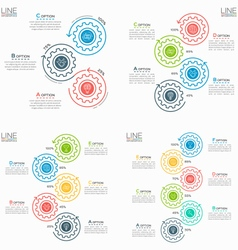 set thin line business infographic templates vector image