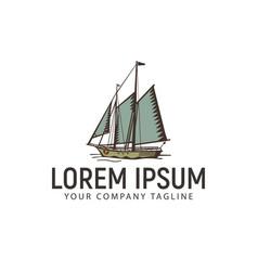 ship marine vintage retro logo design concept vector image