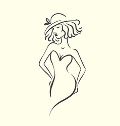 silhouette of woman in sexy dress and hat vector image
