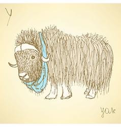 Sketch fancy yak in vintage style vector