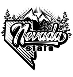 Template with nevada state and mountains vector
