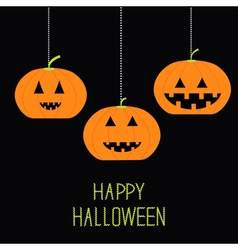 Three funny hanging pumpkin Halloween card for vector