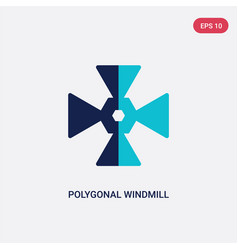 Two color polygonal windmill icon from geometry vector