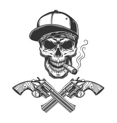 Vintage monochrome bandit skull smoking cigar vector