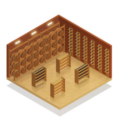 Wine cellar isometric composition vector