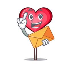 With envelope heart lollipop character cartoon vector
