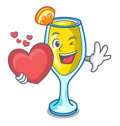 with heart mimosa mascot cartoon style vector image
