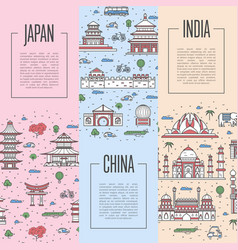 World traveling tour posters in linear style vector