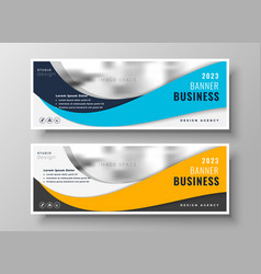 Yellow and blue wavy business banners vector