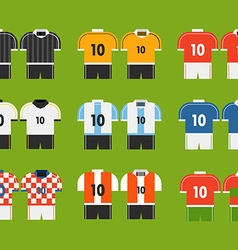 Different soccer team t-shirts clip-art vector image vector image