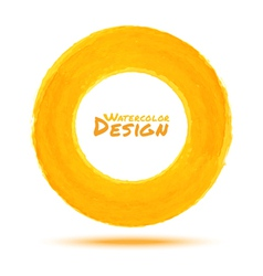 Hand drawn watercolor yellow circle design element vector image vector image