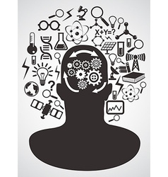 head with science icons set vector image
