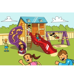 Kids on the playground vector image