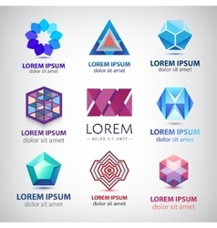 set of abstract colorful 3d logos icons vector image vector image