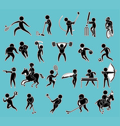 sticker set of silhouette people doing sports vector image