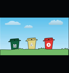 three color plastic bins against blue sky vector image vector image