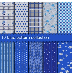 10 blue pattern collection vector image vector image