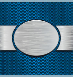 blue perforated background with metal brushed vector image vector image