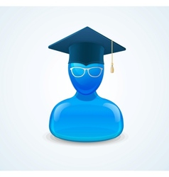 Education icon with graduent student in hat vector image vector image