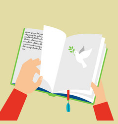hands holding notebook with bookmark vector image vector image