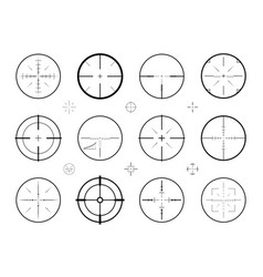 target sight sniper set of icons hunting rifle vector image vector image