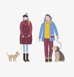man and woman dressed in winter clothing standing vector image vector image