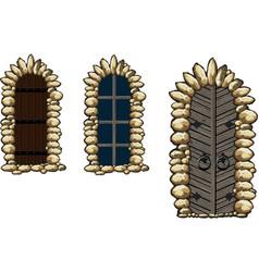 Medieval windows and doors vector